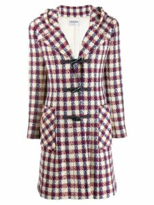 Chanel Pre-Owned 2006 hooded plaid midi coat - Neutrals
