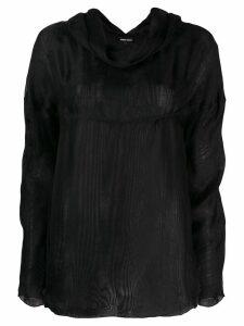 Giorgio Armani Pre-Owned 1990's cowl neck longsleeved blouse - Black