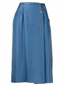 Louis Feraud Pre-Owned 1970's off-centre buttoned skirt - Blue