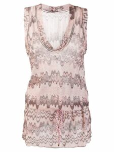 MISSONI PRE-OWNED 1990s wave print drawstring tank - Neutrals