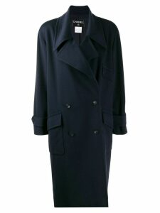 CHANEL PRE-OWNED 1999's oversized double breasted coat - Blue
