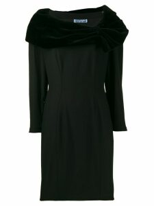 THIERRY MUGLER PRE-OWNED 1990's draped details short dress - Black
