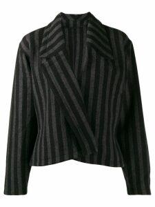 Versace Pre-Owned 1980's striped slim jacket - Black