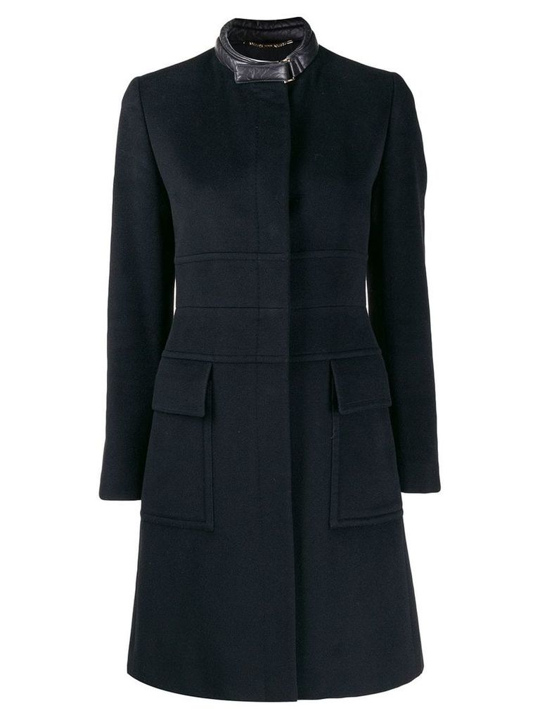 Gucci Pre-Owned 1990's ribbed details midi coat - Black