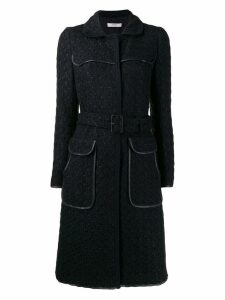 PRADA PRE-OWNED 2000's jacquard midi coat - Black