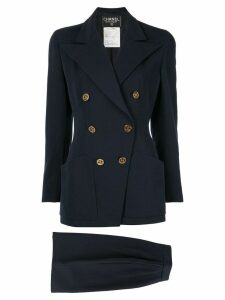 Chanel Pre-Owned Setup Suit Jacket Skirt - Blue