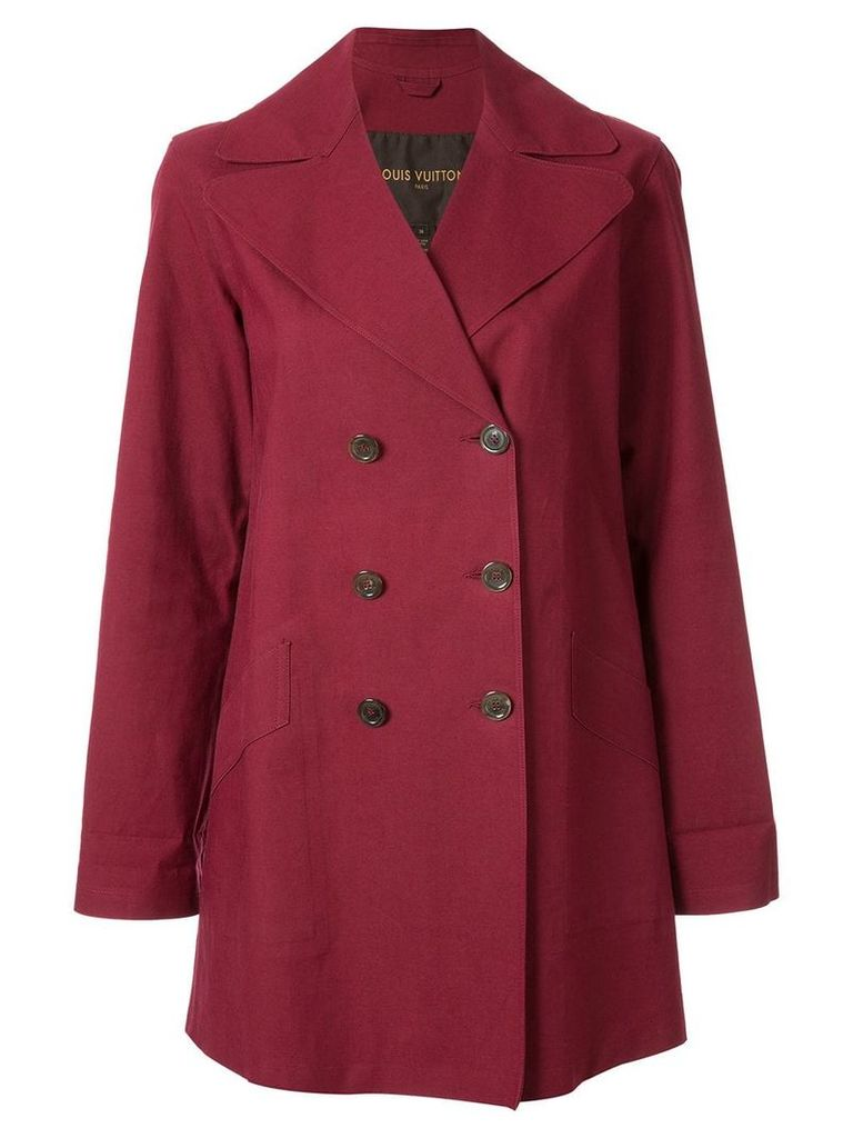 Louis Vuitton Pre-Owned Louis Vuitton Damier trench coat - Red