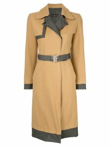 FENDI PRE-OWNED Long Sleeve Coat - Brown