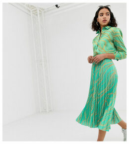 Na-kd chain print print pleated skirts in green