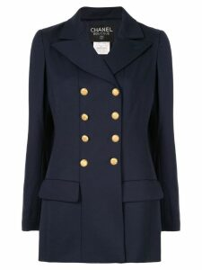 CHANEL PRE-OWNED Chanel long sleeve coat jacket - Blue