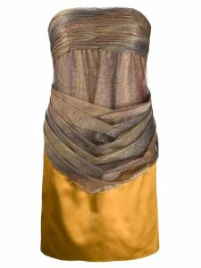 Chanel Pre-Owned strapless draped dress - Yellow
