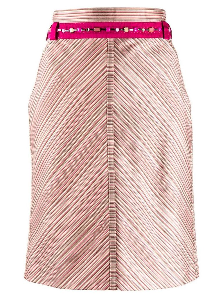 Louis Vuitton Pre-Owned 2000s V-striped straight skirt - Pink