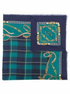 Hermès Pre-Owned tartan print scarf - Blue