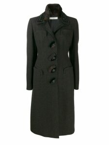 Prada Pre-Owned 2000s fitted waist midi coat - Black