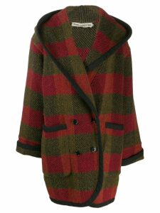 Guy Laroche Pre-Owned 1980s checked hooded coat - Red