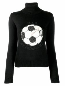 MOSCHINO PRE-OWNED soccer ball intarsia sweater - Black