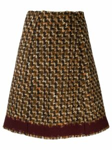 Prada Pre-Owned 2000s woven houndstooth A-line skirt - Brown