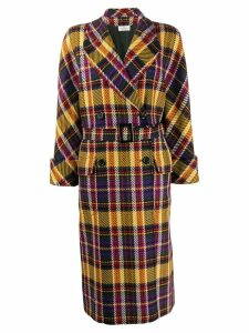 Valentino Pre-Owned 1980s double-breasted plaid coat - Yellow