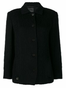 VERSACE PRE-OWNED '2000s cutaway collar coat - Black
