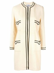Chanel Pre-Owned CC Logos Long Sleeve Coat - White
