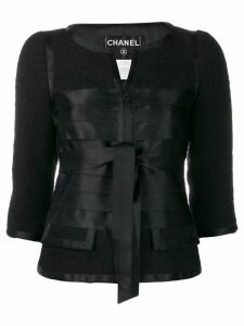 Chanel Pre-Owned 2006's collarless ribbons fitted jacket - Black