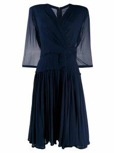 A.N.G.E.L.O. Vintage Cult 1980's silk crepe pleated dress - Blue