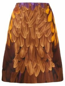Prada Pre-Owned feather print skirt - Brown