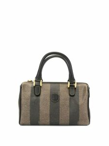Fendi Pre-Owned FENDI pequin pattern Mini hand bag - Brown