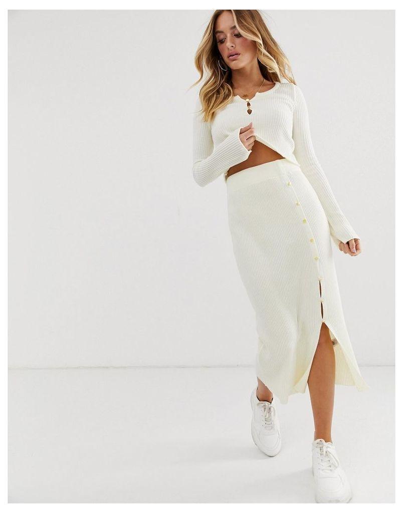 ASOS DESIGN co-ord rib knit midi skirt-Cream
