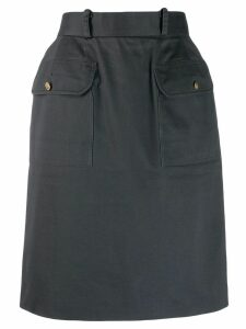 CHANEL PRE-OWNED 1990s cargo straight skirt - Grey