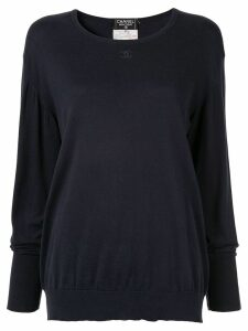 Chanel Pre-Owned embroidered interlocking CC jumper - Blue