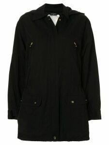 Chanel Pre-Owned 1980s hooded zipped coat - Black
