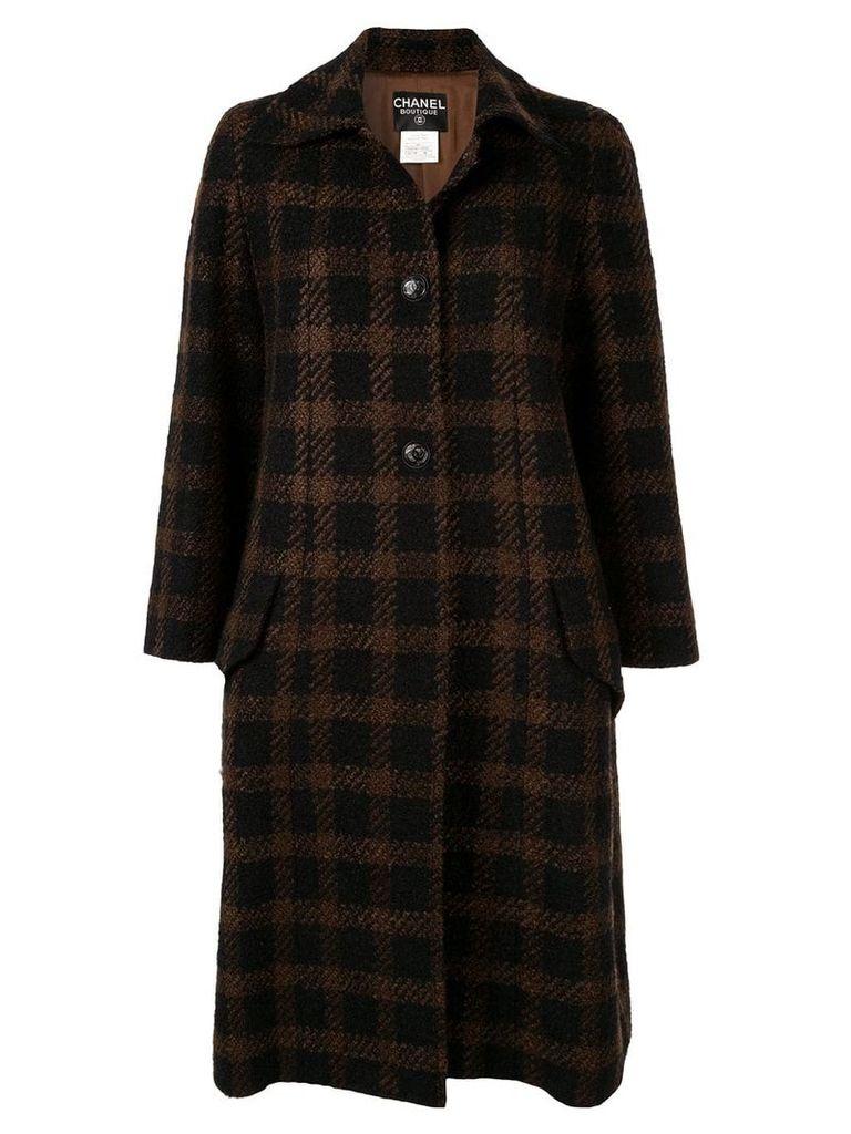 Chanel Pre-Owned CC long sleeve tweed coat - Brown