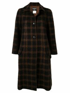 Chanel Pre-Owned CC long sleeve tweed coat - Brown