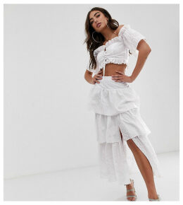 House of Stars tiered midi skirt in broderie with split front co-ord