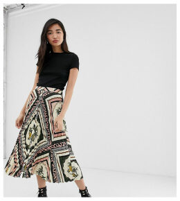 Stradivarius chain printed button front pleated midi skirt in multi