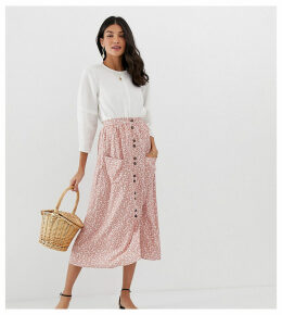 ASOS DESIGN Tall button front midi skirt with pockets in brown floral print