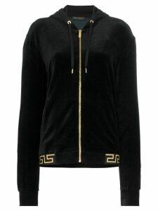 Versace Greek Key-trimmed velvet hoodie - Black