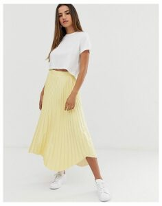 ASOS DESIGN pleated midi skirt in vinyl with waved hem
