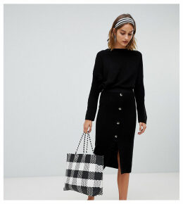 Stradivarius ribbed and button detail skirt co ord