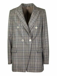 Brunello Cucinelli Houndstooth Double Breasted Blazer