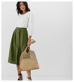 ASOS DESIGN Tall Button Front Floaty Midi Skirt
