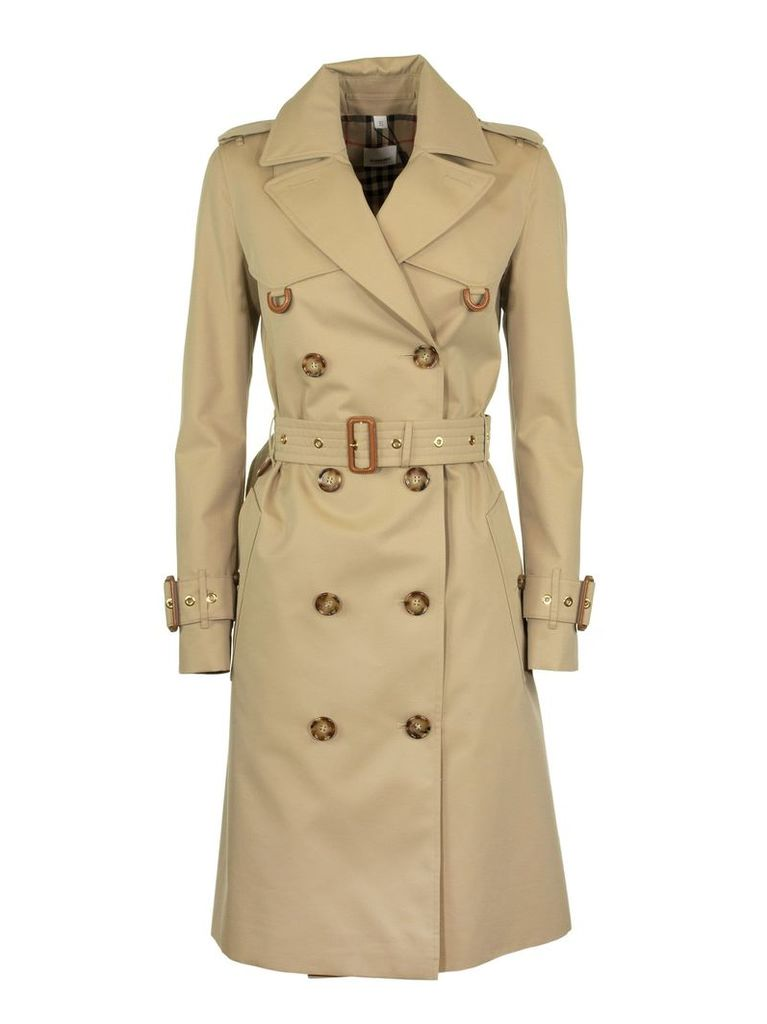 Burberry Islington Leather D-ring Detail Cotton Gabardine Trench Coat