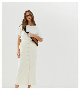 Reclaimed Vintage inspired denim midi mom skirt in ecru wash