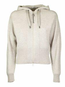 Brunello Cucinelli Cream Knitted Zip Fleece