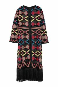 Caban Romantic Floral Pattern Dust Coat