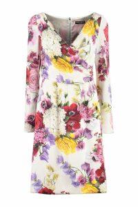 Dolce & Gabbana Floral Print Silk Sheath-dress