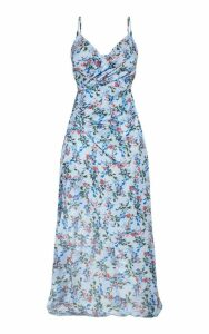 Petite Dusty Blue Floral Satin Wrap Detail Maxi Dress, Blue