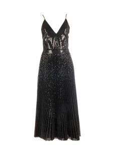 MSGM Long Plisse And Sequin Dress