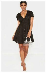 Tall Black Broderie Anglaise Short Sleeve Dress, Black